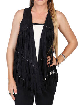 Vocal Women's Layered Fringe Vest, Black, hi-res