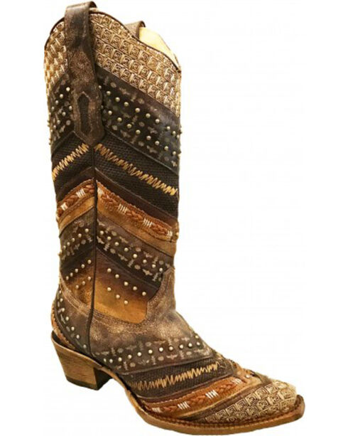Corral Women's Pattern Striped Western Boots, Brown, hi-res