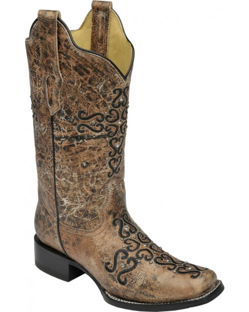 Corral Women's Bronze Cross Embroidered Western Boots, Bronze, hi-res
