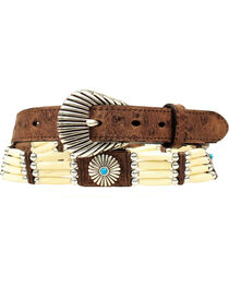 Nocona Belt Co Women's Ivory Bead & Concho Belt, , hi-res