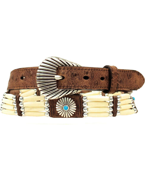 Nocona Belt Co Women's Ivory Bead & Concho Belt, Brown, hi-res