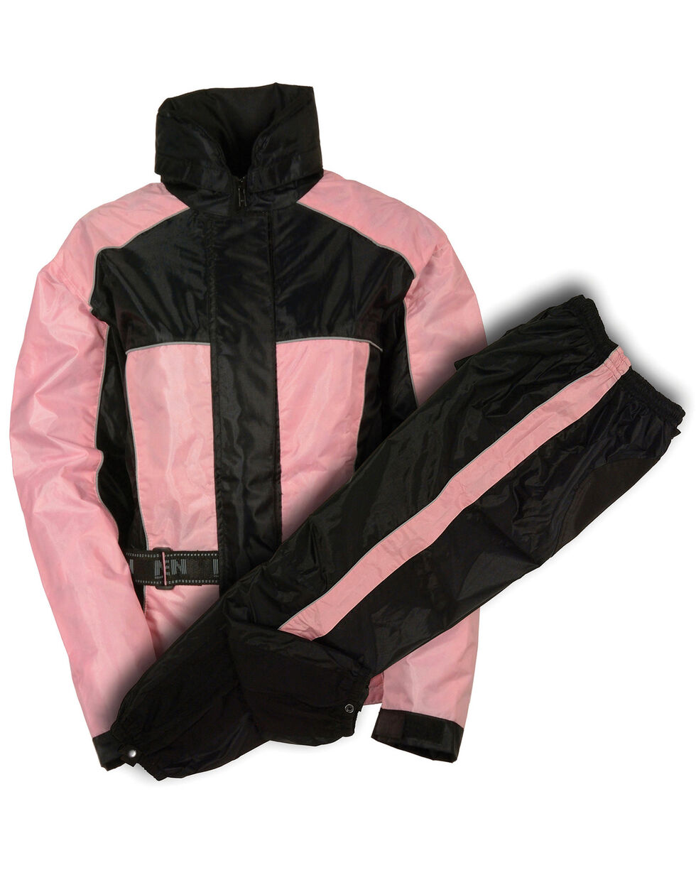 Milwaukee Leather Women's Waterproof Rain Suit with Reflective Piping, Pink/black, hi-res