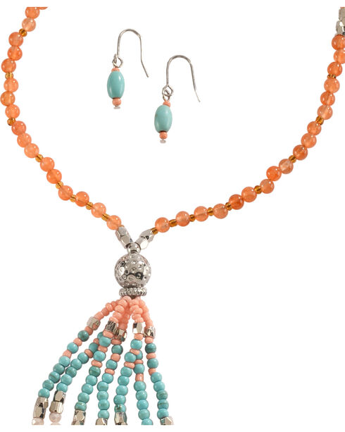 Blazin Roxx Beaded Fringe Necklace & Earrings Set, Silver, hi-res