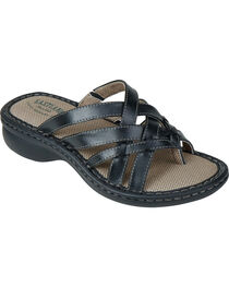Eastland Women's Black Lila Thong Sandals , Black, hi-res