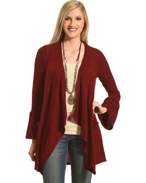 Moa Moa Burgundy Brushed Knit Bell Sleeve Cardigan, Burgundy, hi-res