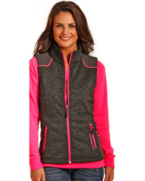 Powder River Outfitters Women's Melange Bonded Multi Media Vest, Black, hi-res