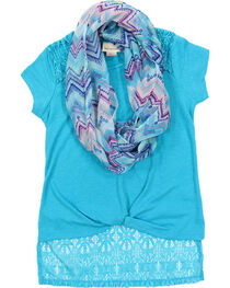 Self Esteem Girls' Lace Trim Shirt and Patterned Scarf Set, , hi-res