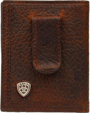 Ariat Logo Concho Clip Bi-fold Wallet, Brown, hi-res