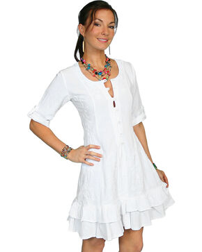Scully Women's 3/4 Sleeve Dress, White, hi-res
