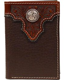 Ariat Men's Tri-Fold Concho Leather Wallet, , hi-res