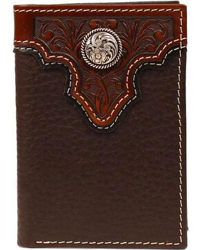Ariat Men's Tri-Fold Concho Leather Wallet, Brown, hi-res