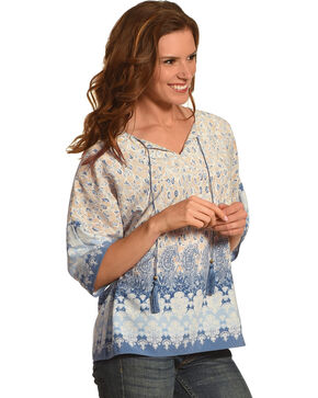 Ruby Road Women's Border Print Extended Sleeve Shirt , Blue, hi-res