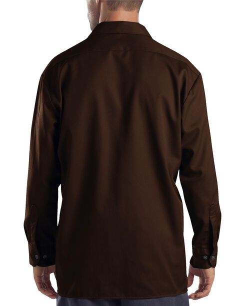 Dickies Twill Work Shirt - Big & Tall, Dark Brown, hi-res