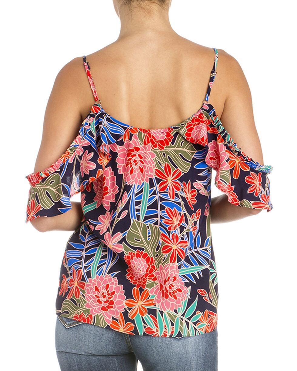 Miss Me Women's Floral Cold Shoulder Top, Navy, hi-res