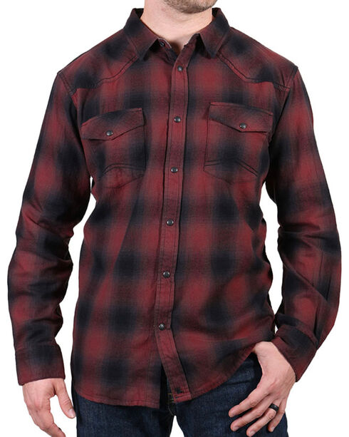 Cody James® Men's Washed Out Plaid Flannel, Maroon, hi-res
