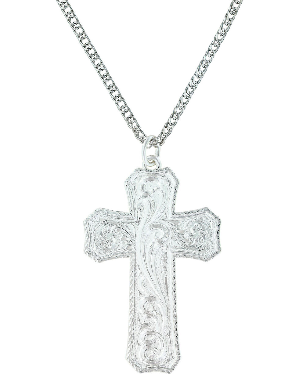 Montana Silversmiths Women's True Western Cross Necklace , Silver, hi-res