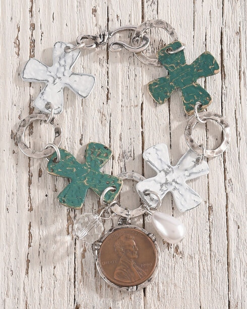 Shyanne Women's Penny Charm Cross Bracelet, Silver, hi-res