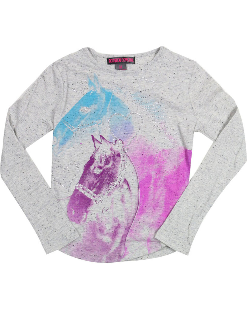 Rock & Roll Cowgirl Girls' Gradient Horse Long Sleeve Shirt, Grey, hi-res