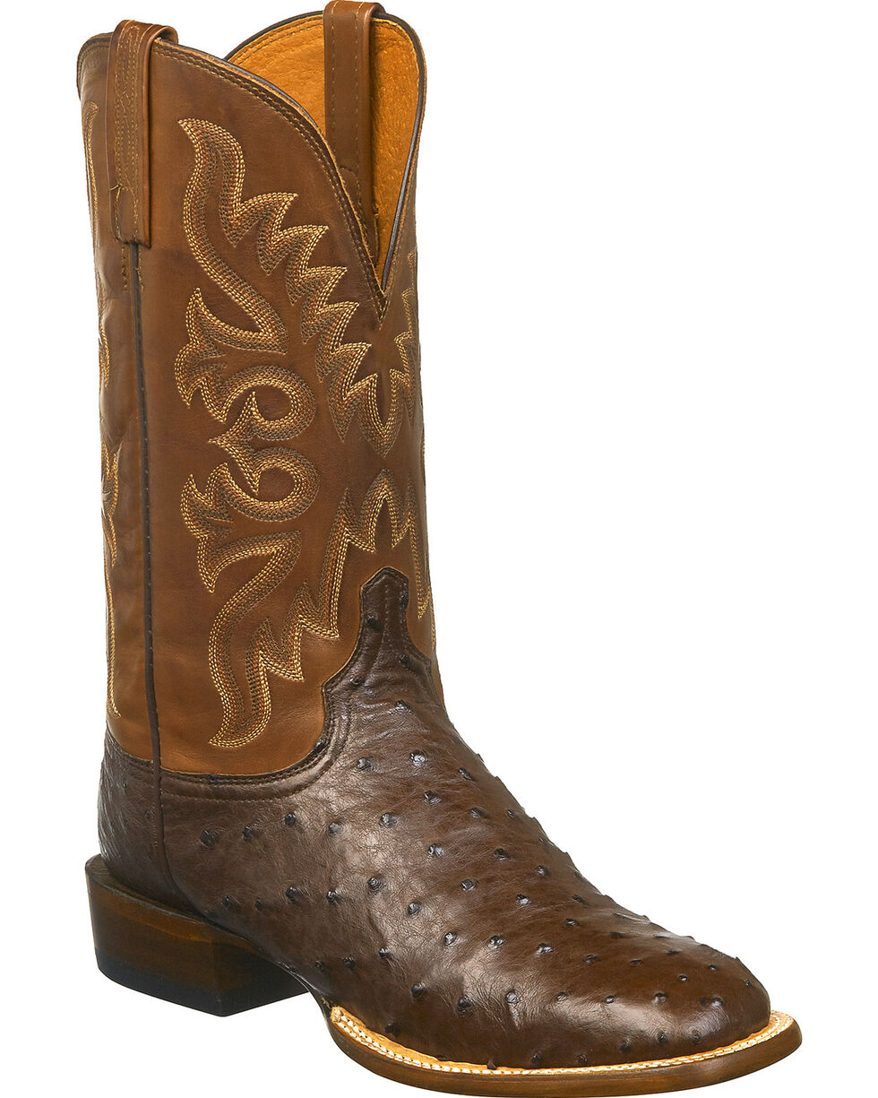 Lucchese Men's Handmade Harmon Full Quill Ostrich Western Boots - Square Toe, Brown/pink, hi-res