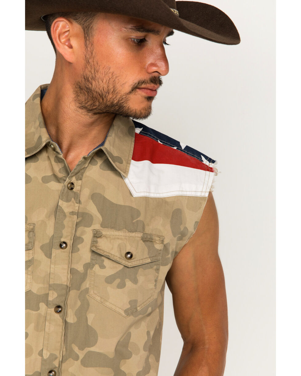 Cody James Men's Desert Dweller Flag Sleeveless Western Snap Shirt, Tan, hi-res