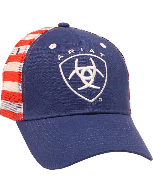 Ariat American Flag Mesh Trucker Ball Cap, Navy, hi-res