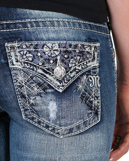 Miss Me Women's Floral Embroidered Mid Rise Boot Cut Jeans, Blue, hi-res
