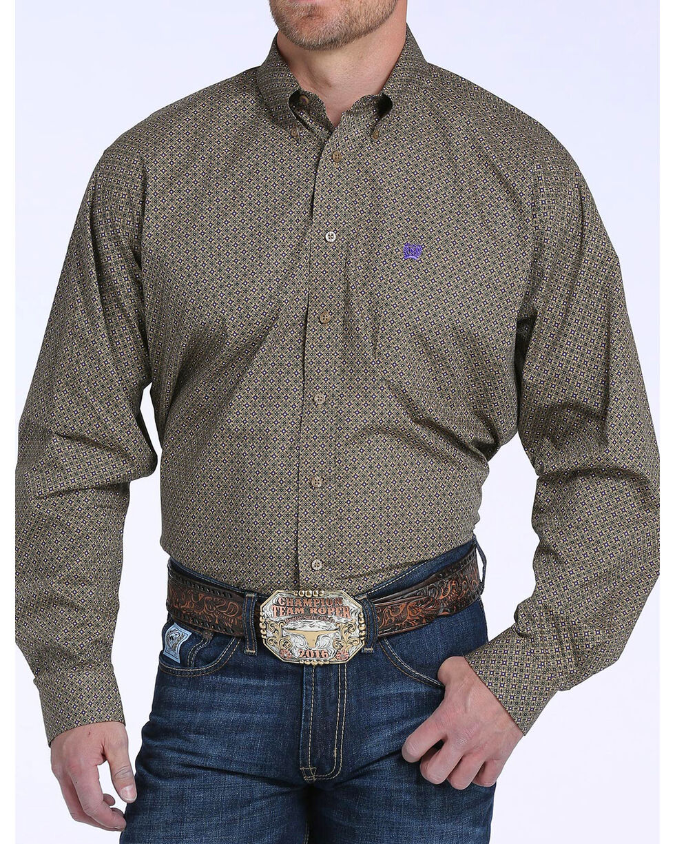 Cinch Men's Tan & Purple Geometric Print Long Sleeve Button Down Shirt, Tan, hi-res