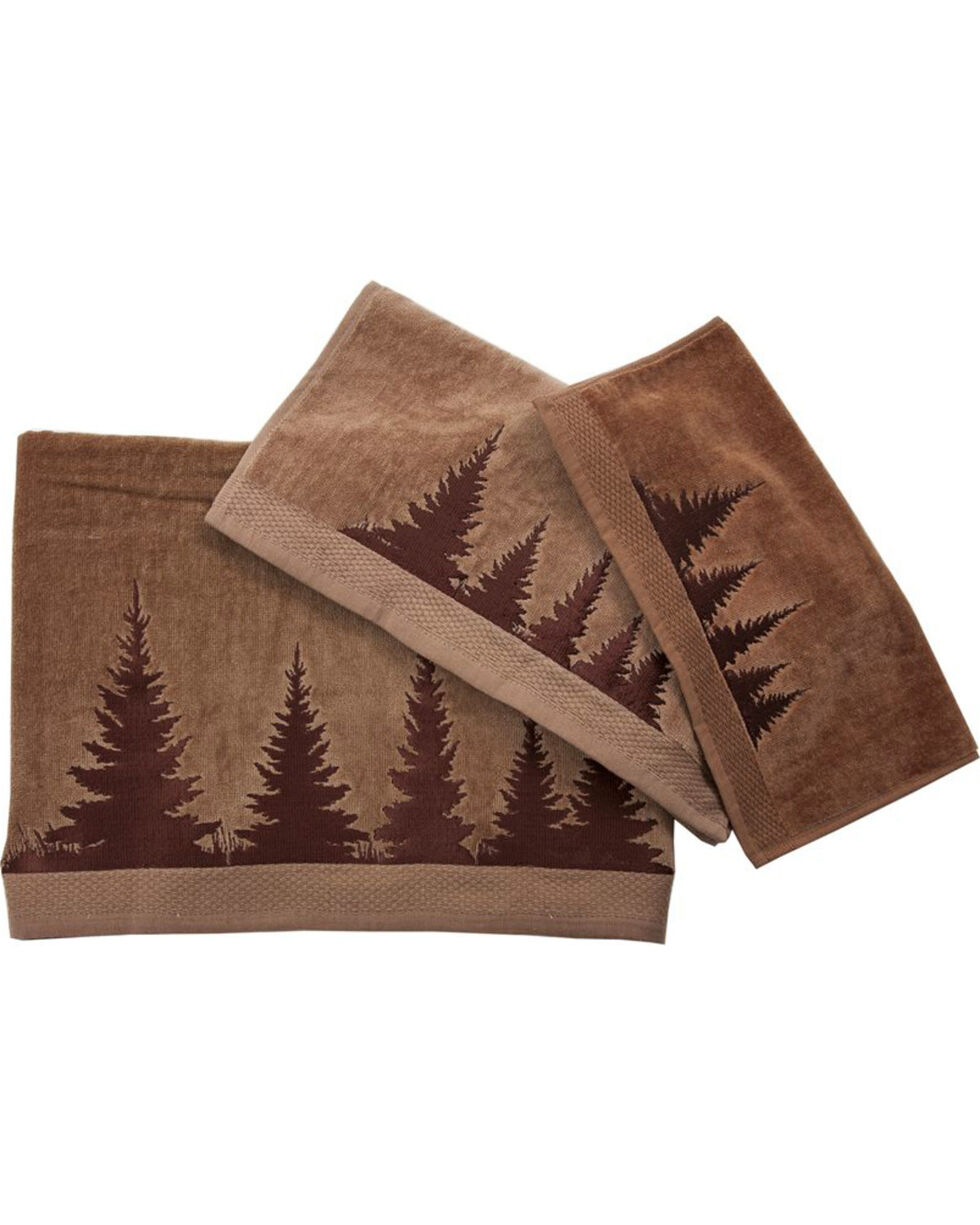 HiEnd Accents 3-Piece Mocha Towel Set With Embroidered Clearwater Pines , Brown, hi-res