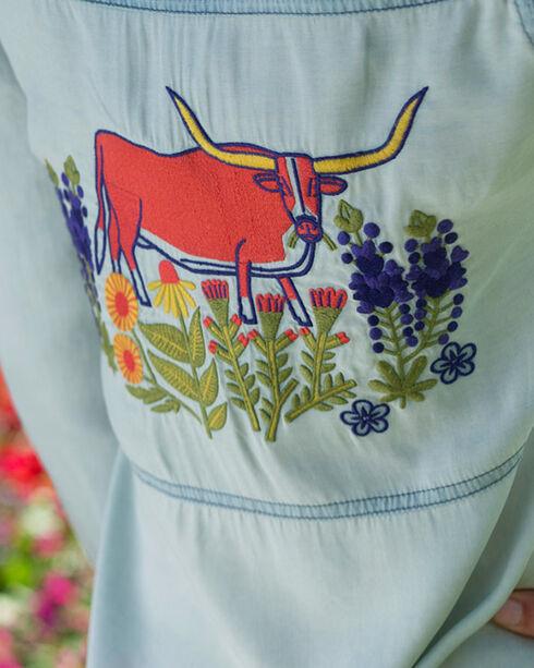 Ryan Michael Women's Indigo Embroidered Tencel Top, Indigo, hi-res