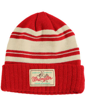 Wrangler Men's Striped Cuff Beanie, Red, hi-res