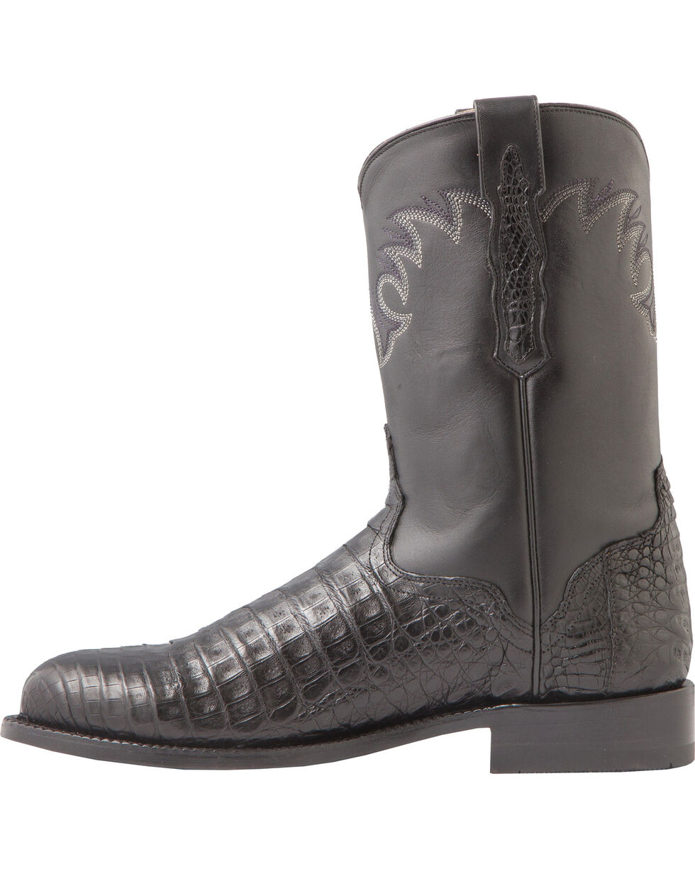 El Dorado Men's Handmade Caiman Belly Roper Boots - Round Toe, Black, hi-res