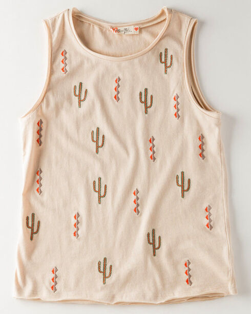 Miss Me Girls' Cactus Embroidered Tank Top, Taupe, hi-res