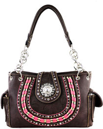 Montana West Women's Rhinestone Concho Concealed Carry Tote, , hi-res