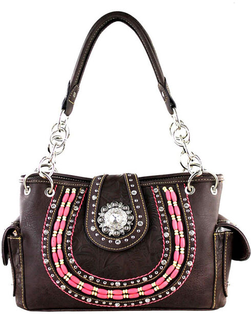 Montana West Women's Rhinestone Concho Concealed Carry Tote, Taupe, hi-res
