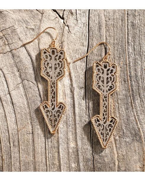 Shyanne Women's Silver & Gold Arrow Earrings, Silver, hi-res