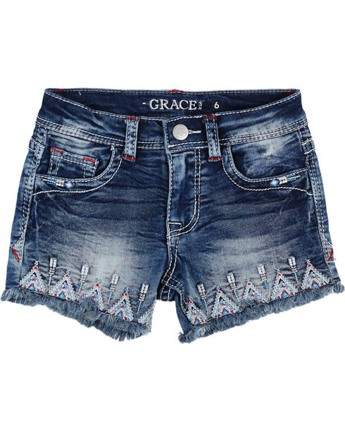 Grace in LA Girls' Aztec Embroidered Cutoff Shorts, Blue, hi-res
