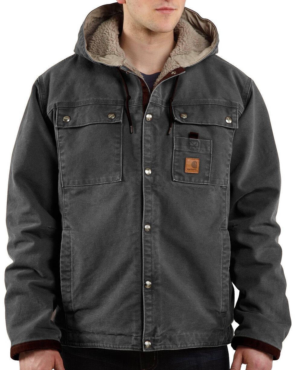 Carhartt Sandstone Hooded Sherpa-Lined Multi Pocket Jacket, Grey, hi-res