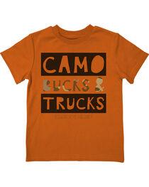 Farm Boy Boys' Camo Bucks &Trucks Tee, Orange, hi-res