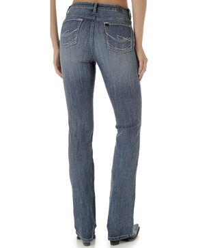 Wrangler Aura Women's Mid Rise Jeans with Swish Embroidered Pocket, Indigo, hi-res