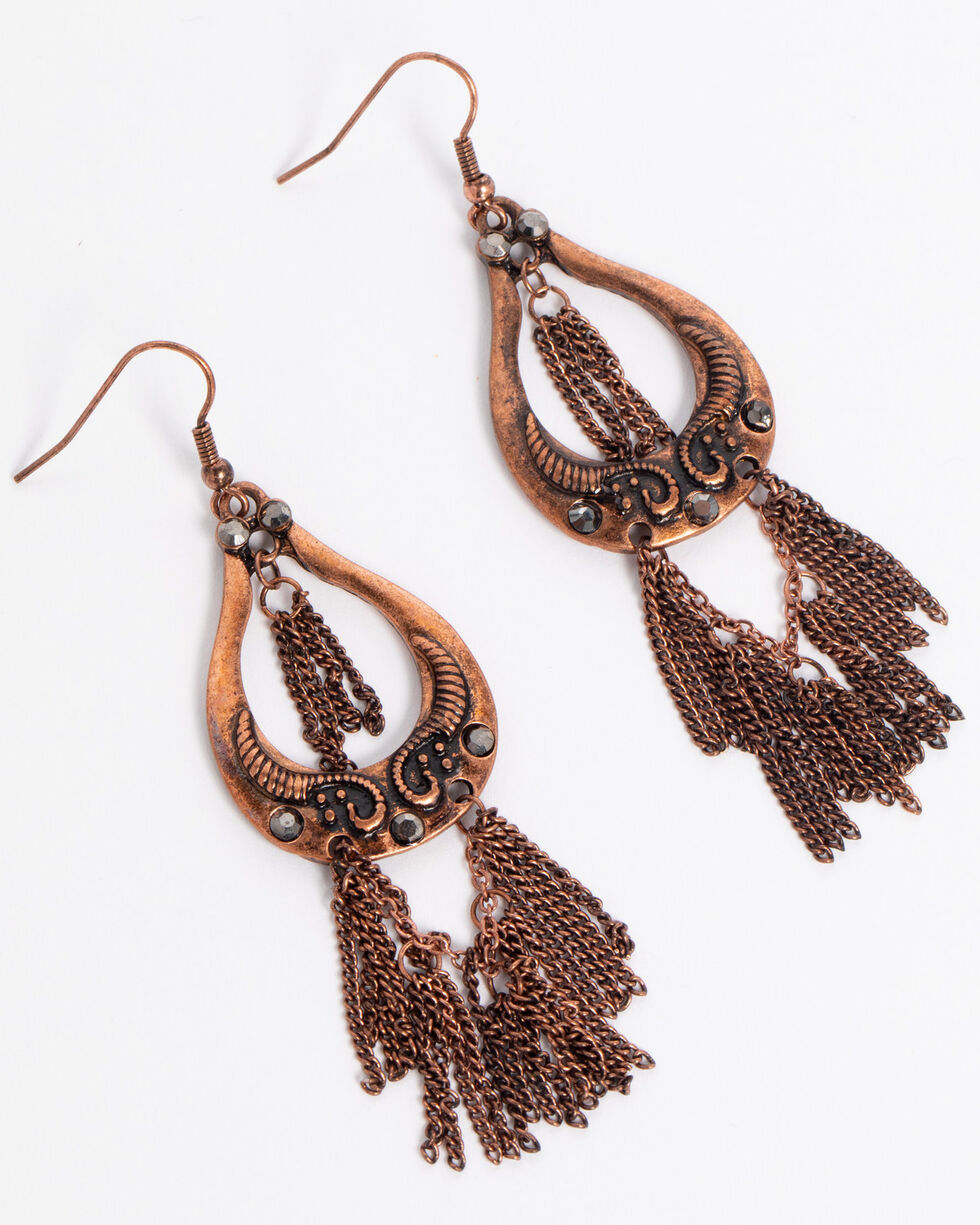 Shyanne Women's Fringe Chandelier Earrings, Rust Copper, hi-res