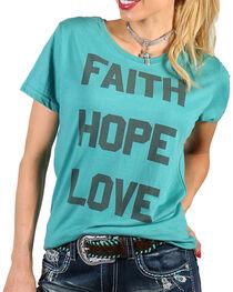 """Grace & Truth Women's """"Faith Hope Love"""" Tee, Teal, hi-res"""
