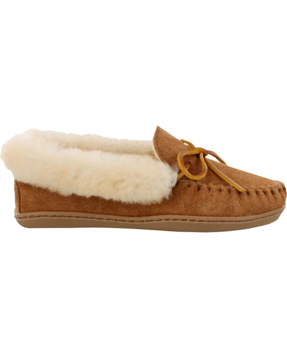 Minnetonka Women's Alpine Sheepskin Moccasins, Tan, hi-res