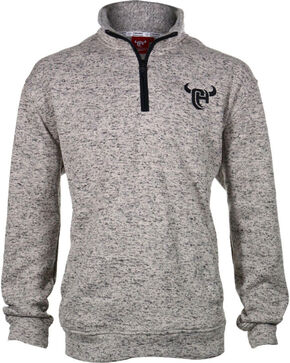 Cowboy Hardware Men's Heather Quarter Zip Sweater, Oatmeal, hi-res