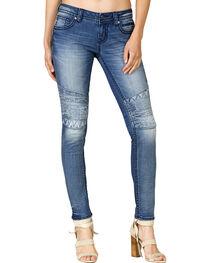 Miss Me Moto Embroidered Floral Skinny Jeans, , hi-res