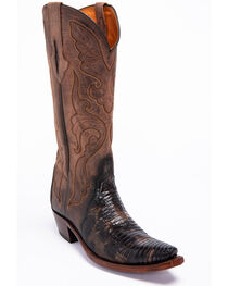 Lucchese Brown Sasha Lizard Cowgirl Boots - Narrow Square Toe , , hi-res