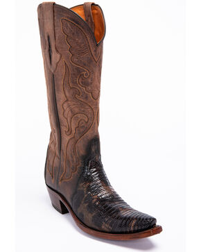 Lucchese Brown Sasha Lizard Cowgirl Boots - Narrow Square Toe , Dark Brown, hi-res