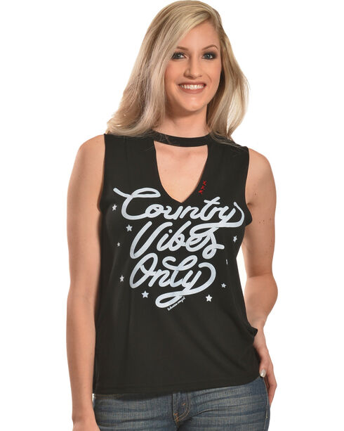 Bohemian Cowgirl Women's Black Country Vibes Tank Top , Black, hi-res