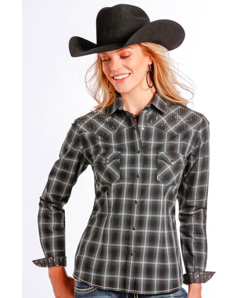 Rough Stock by Panhandle Slim Women's Vintage Lurex Plaid Western Shirt , Black, hi-res
