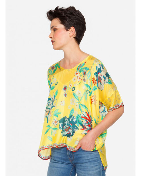 Johnny Was Women's Silk Nancy Top , Yellow, hi-res