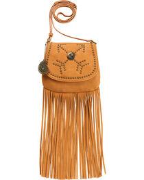Bandana by American West Austin Tan Fringe Flap Wallet Bag , , hi-res